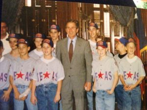 Members of the 1996 Pearland Little League All-Star team with Texas Governor George W. Bush. Chris is in the second row at the far left.