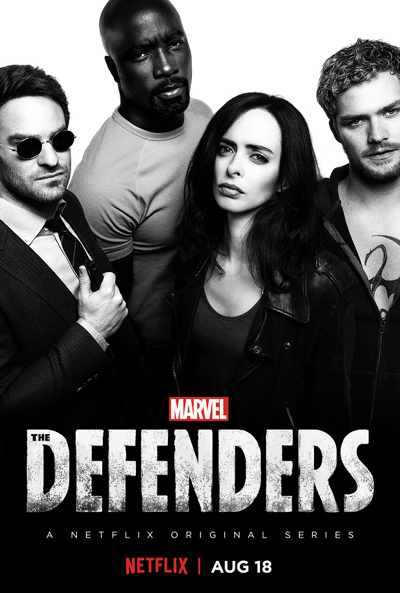 Marvel's The Defenders on Netflix black and white pic